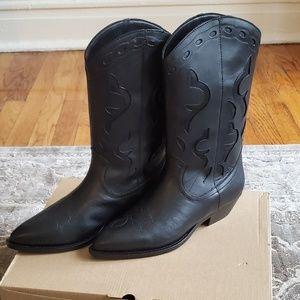 Mango Black Leather Cowboy Boots. Size8/39